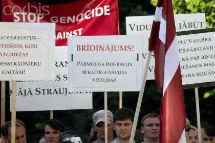 Protest against immigration in Latvia